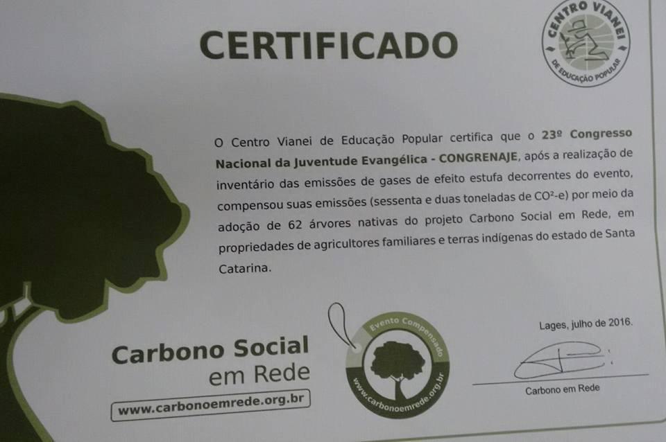 certificado compensação de carbono
